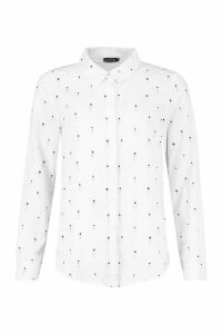 Womens Star Print Button Up Long Sleeve Shirt - white - M, White