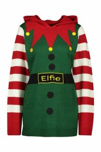 Womens Elfie Christmas Knitted Hoodie Jumper - green - M, Green