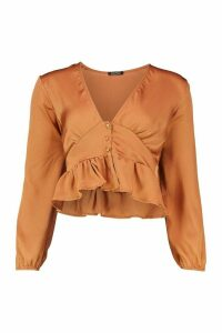 Womens Satin Button Through Peplum Hem Blouse - orange - 10, Orange