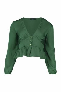 Womens Satin Button Through Peplum Hem Blouse - Green - 10, Green