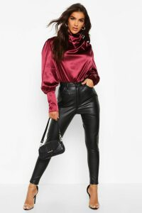 Womens Satin High Neck Oversized Blouse - Red - 10, Red