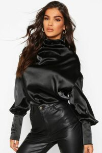 Womens Satin High Neck Oversized Blouse - Black - 16, Black