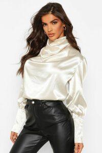 Womens Satin High Neck Oversized Blouse - Beige - 14, Beige