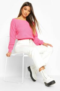 Womens Crop Slash Neck Fisherman Jumper - Pink - M/L, Pink