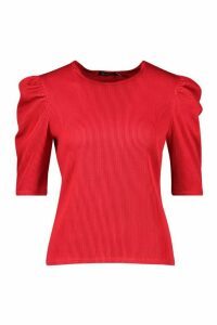 Womens Pleated Puff Sleeve Top - red - 6, Red