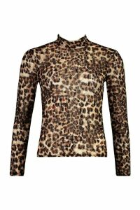 Womens roll/polo neck Top In Textured Leopard Lace - brown - 14, Brown