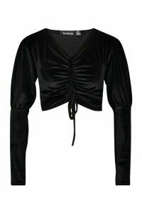Womens Velvet Ruched Puff Sleeve Crop Top - black - 12, Black