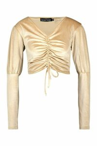 Womens Velvet Ruched Puff Sleeve Crop Top - beige - 12, Beige
