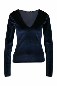 Womens Velvet Sweetheart Long Sleeve Top - navy - 8, Navy