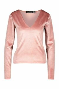 Womens Velvet Sweetheart Long Sleeve Top - pink - 16, Pink