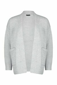 Womens Rib Edge To Edge Pocket Cardi - White - M, White
