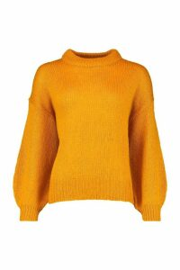 Womens Crew Neck Balloon Sleeve Jumper - orange - L, Orange