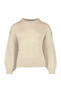 Womens Crew Neck Balloon Sleeve Jumper - beige - L, Beige