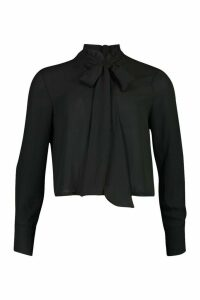 Womens Ruffle High Neck Tie Blouse - black - 8, Black