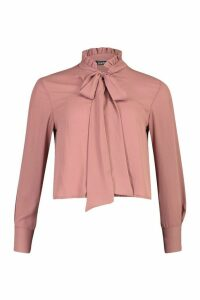 Womens Ruffle High Neck Tie Blouse - Beige - 10, Beige