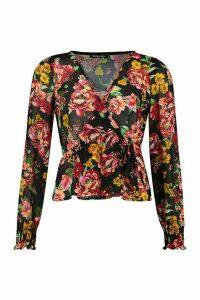Womens Floral Shirred Cuff Wrap Top - black - 10, Black
