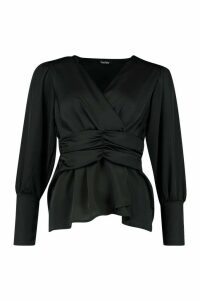 Womens Satin Ruched Front Blouse - black - 12, Black