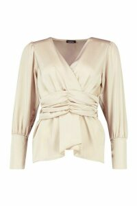 Womens Satin Ruched Front Blouse - beige - 8, Beige