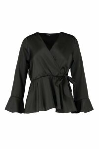 Womens Flute Sleeve Satin Tie Peplum Top - black - 14, Black