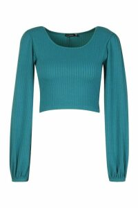 Womens Textured Rib Long Blouson Sleeve Top - green - 14, Green