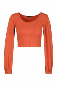 Womens Textured Rib Long Blouson Sleeve Top - orange - 14, Orange