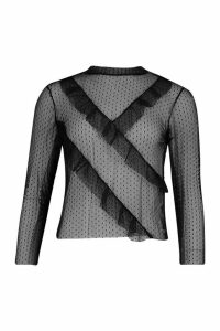 Womens Dobby Print Ruffle Long Sleeve Top - Black - 6, Black