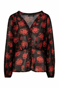 Womens Floral Blouson Sleeve Blouse - black - 12, Black
