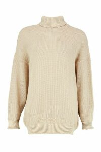 Womens Two Stone Roll Neck Knitted Jumper - white - M, White