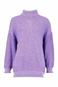 Womens Two Stone Roll Neck Knitted Jumper - purple - M, Purple