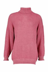 Womens Two Stone Roll Neck Knitted Jumper - pink - M, Pink