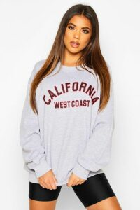 Womens California Slogan Oversized Sweatshirt - grey - M, Grey
