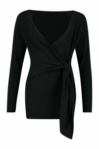 Womens Twist Front Slouchy Jumper - black - S/M, Black