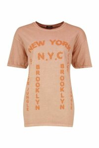 Womens Washed New York Graphic Print T-Shirt - orange - S, Orange