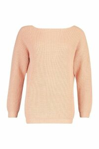 Womens V Back Oversized Jumper - orange - M, Orange