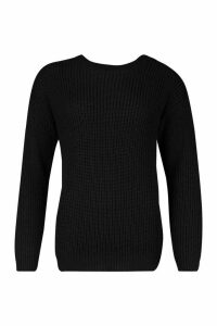 Womens Fisherman Crew Neck Jumper - Black - M, Black