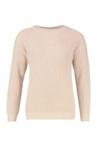 Womens Fisherman Crew Neck Jumper - pink - L, Pink