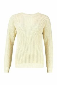 Womens Fisherman Crew Neck Jumper - cream - M, Cream