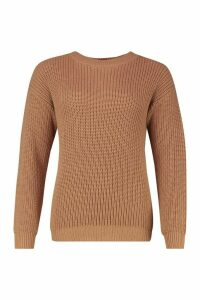 Womens Fisherman Crew Neck Jumper - beige - M, Beige