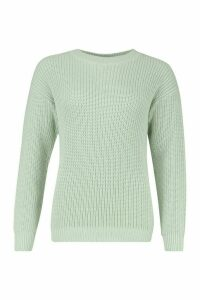 Womens Fisherman Crew Neck Jumper - green - L, Green