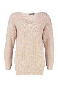 Womens Oversized Fisherman V Neck Jumper - pink - M, Pink