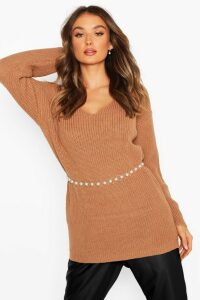 Womens Oversized Fisherman V Neck Jumper - Beige - S, Beige