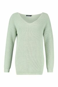 Womens Oversized Fisherman V Neck Jumper - green - M, Green