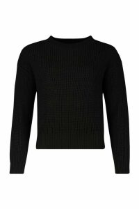Womens Crop Fisherman Jumper - black - L, Black