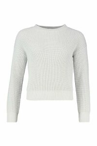 Womens Crop Fisherman Jumper - grey - L, Grey
