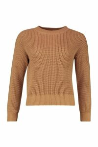 Womens Crop Fisherman Jumper - Beige - S, Beige