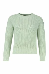 Womens Crop Fisherman Jumper - green - M, Green