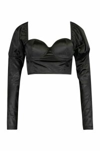 Womens Bardot Puff Sleeve Crop Top - black - 14, Black