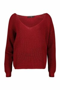 Womens Oversized V Neck Jumper - red - XS, Red