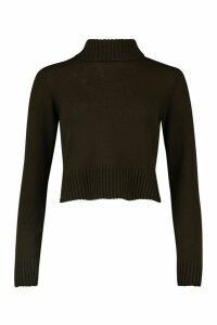 Womens Roll Neck Crop Jumper - brown - M, Brown