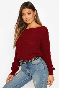 Womens Slash Neck Crop Fisherman Jumper - red - XL, Red